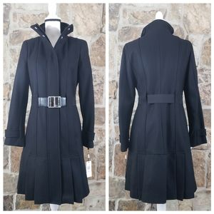 NWT Calvin Klein 6 Skirted Pleated Wool Trench